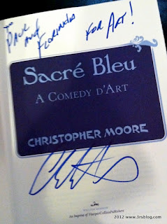 author inscription on SACRE BLEU title page, 4/28/12