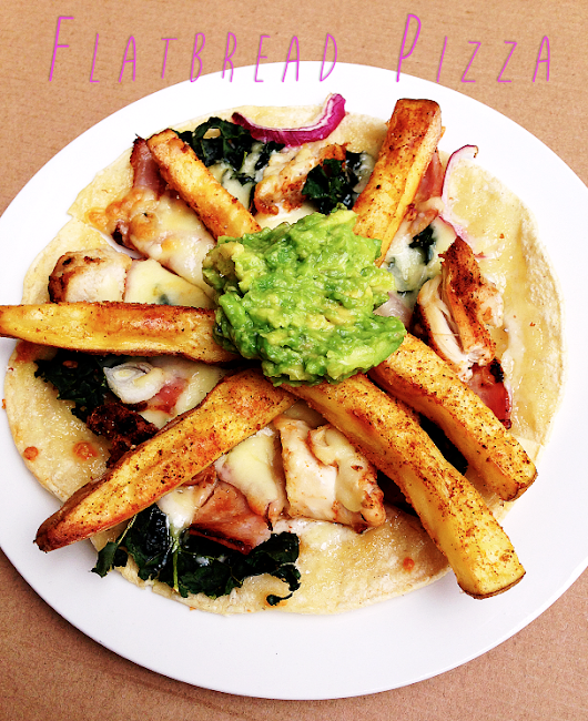 Flatbread Pizza with Baked Fries and Guac