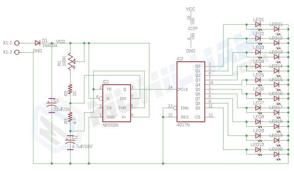 Membuat Running LED Dengan IC 4017 Dan Timer NE555