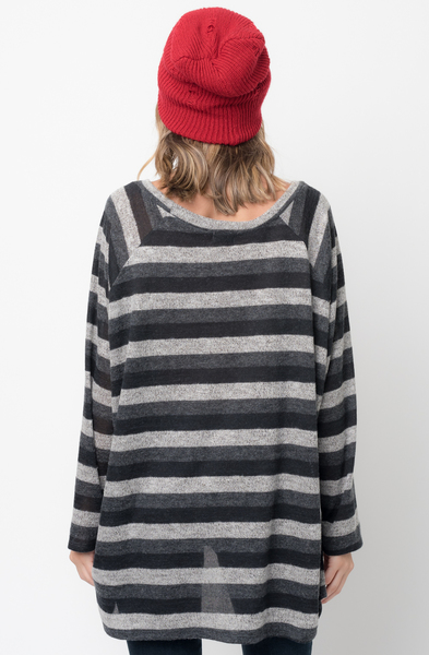 Shop for Black Hi Lo Long Sleeve Dolman Striped Sweater Tunic on Caralase.com