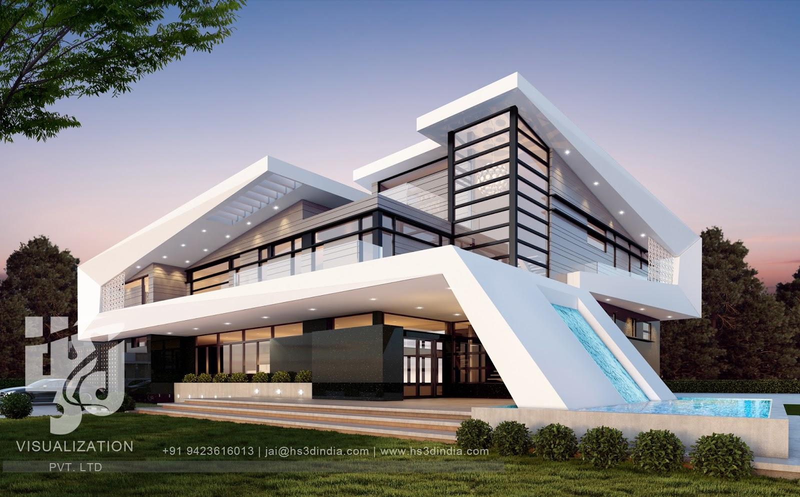 3d architectural visualization 3d exterior night rendering for Exterior 3d design