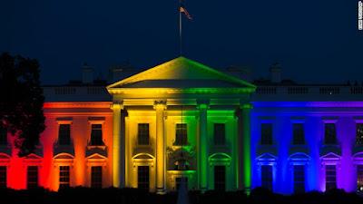 White house, gay flag