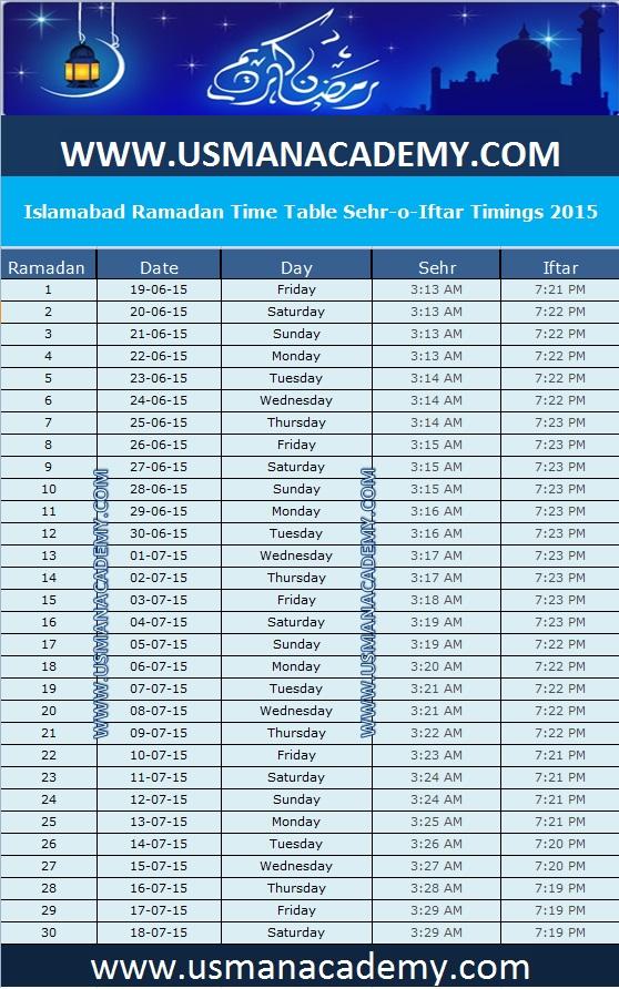Islamabad ramadan timings 2018 calendar islamabad ramazan for 8th board time table