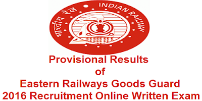 Eastern Railways Goods Guard Provisional Results 2016