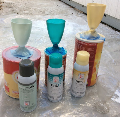 Design masters Tint it spray paint upcycled glassware stefanie Girard