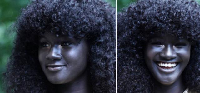 darkest Senegalese model Khoudia diop with black skin colour