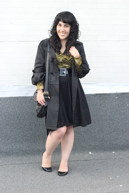 Trench Coat and Pleated Skirt Outfit Inspiration