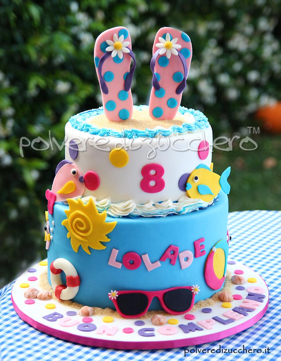 cake design pasta di zucchero estate torta summer cake flip flop infradito pesci spiaggia polvere di zucchero