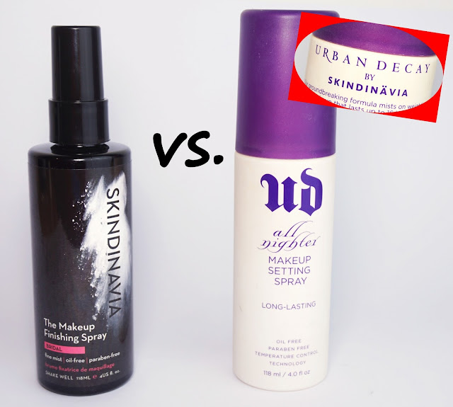 "Make-Up Fixing Spray: Skindinavia Makeup Finishing Spray ""Bridal"" vs. Urban Decay - All Nighter Long-Lasting Makeup Setting Sprays"