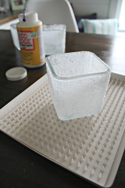 """""""snowy"""" glass with Epsom salts"""