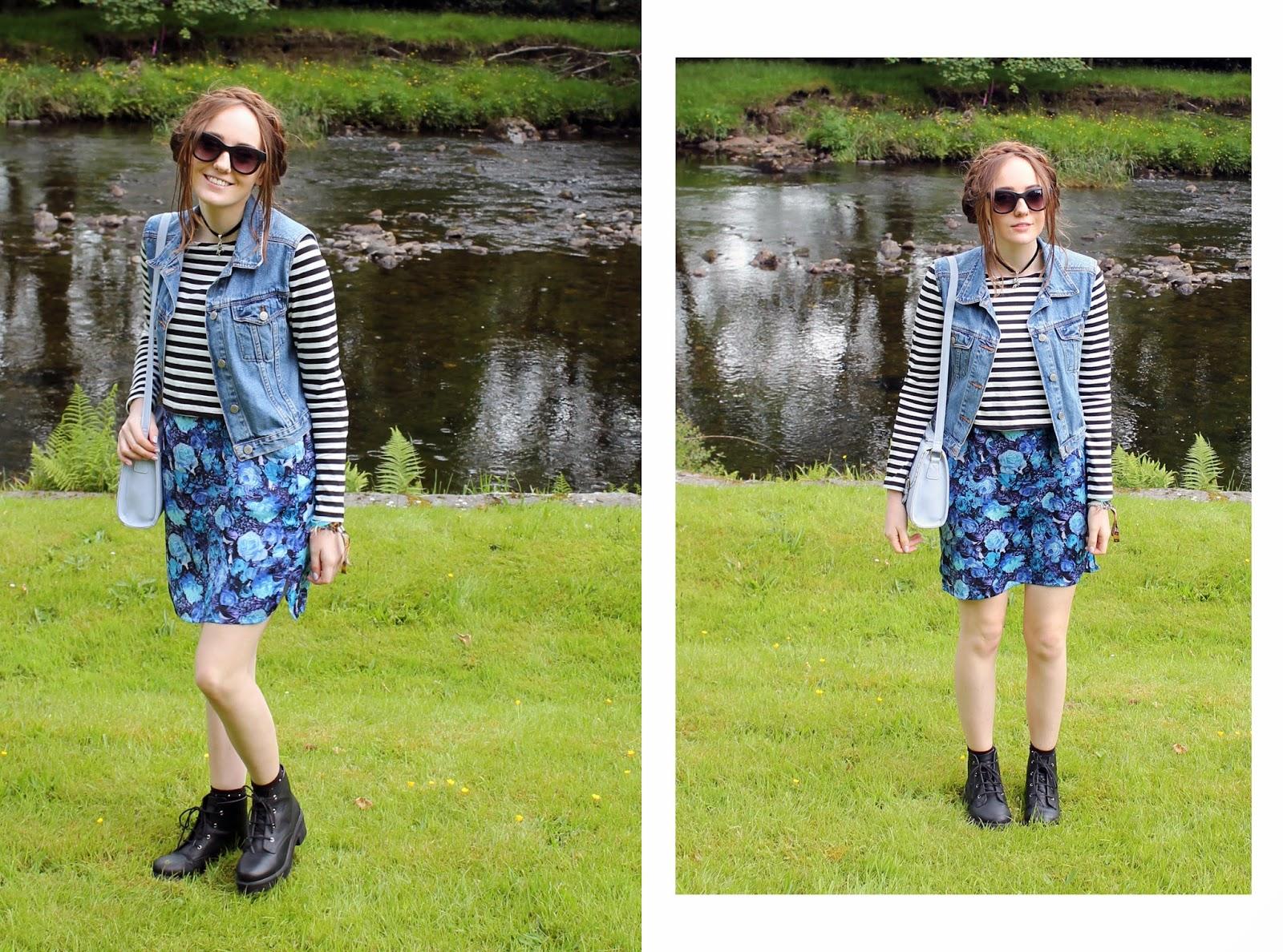 OOTD, blue floral slip dress, denim gilet, layers, stripey crop top, asos boots