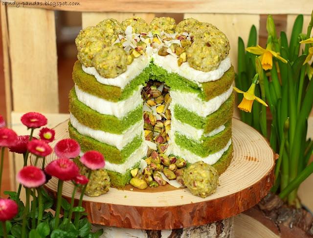 Tort pistacjowo-kokosowy (bez glutenu, cukru białego, laktozy)