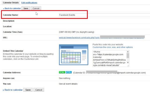 Google Calendar settings calendar name