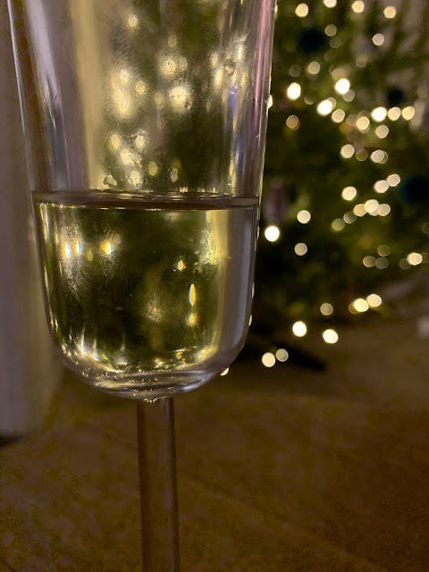 champagne glass and Christmas Tree