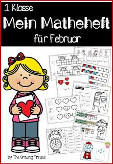 Matheübungen für die 1. Klasse. Zahlreiche Arbeitsblätter und verschiedene Übungen für die Grundschule. Mathe im Februar und an Valenteinstag