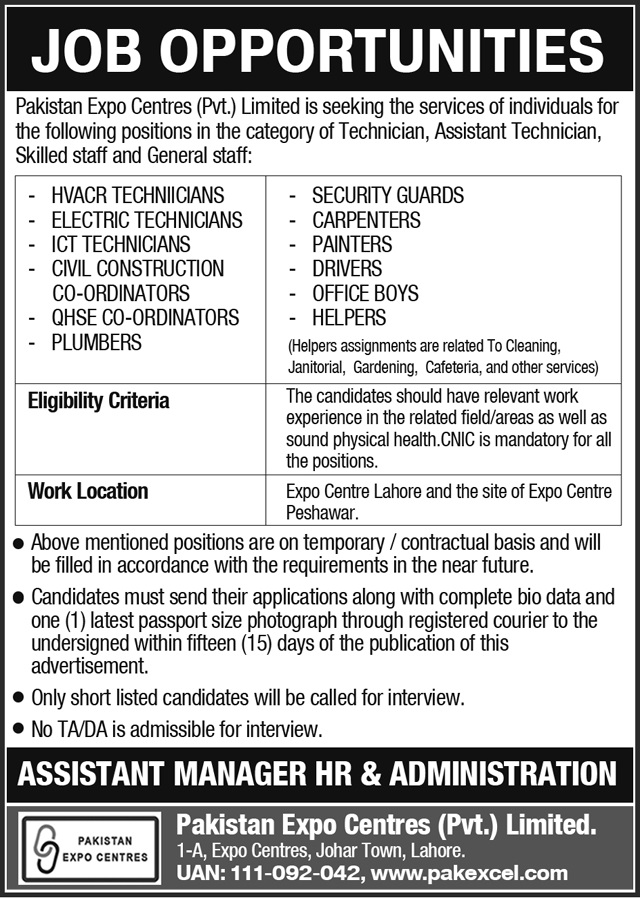Today Fresh Jobs in Pakistan Expo Centers Pvt Ltd