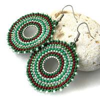 купить зеленые серьги из бисера украшения в стиле бохо этно серьги