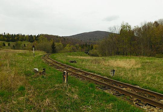 Linia Bieszczadzkiej Kolejki Leśnej. W tle Matragona.
