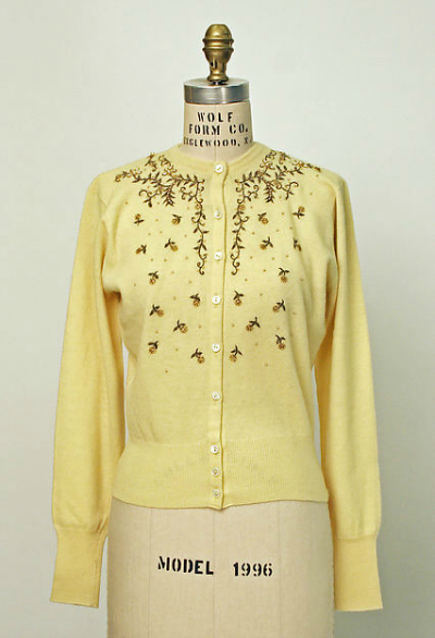 Yellow sweater with beading from House of Dior 1950