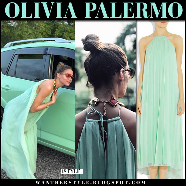 Olivia Palermo in mint green halterneck silk chiffon tibi maxi dress vacation mustique island summer fashion august 5