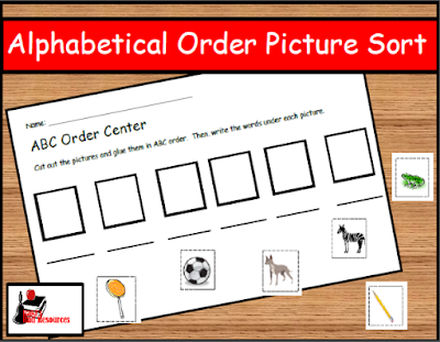Free alphabetical order picture sort - great literacy center for primary grades - from Raki's Rad Resources.