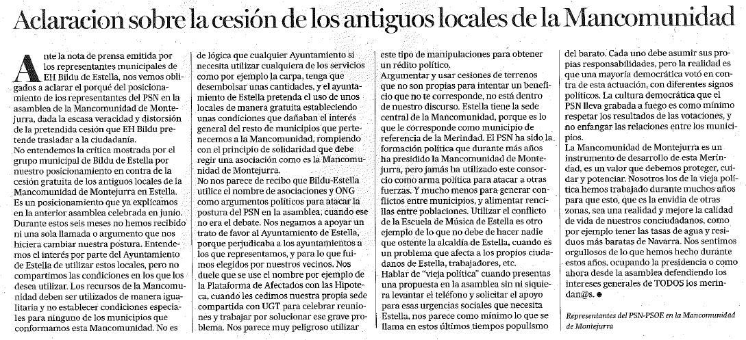 Aclaración respecto a los locales de Mancomunidad de Montejurra