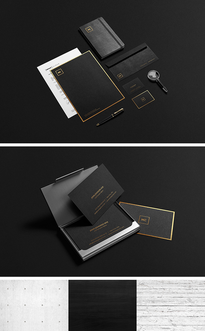 Black Stationary Mock-Up PSD