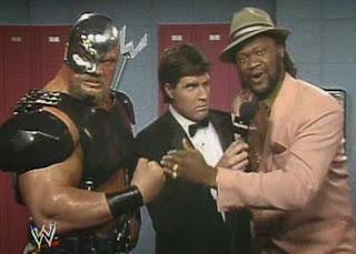 WWF / WWE - Wrestlemania 7: The Warlord and his manager, Slick, cut a promo before facing The British Bulldog