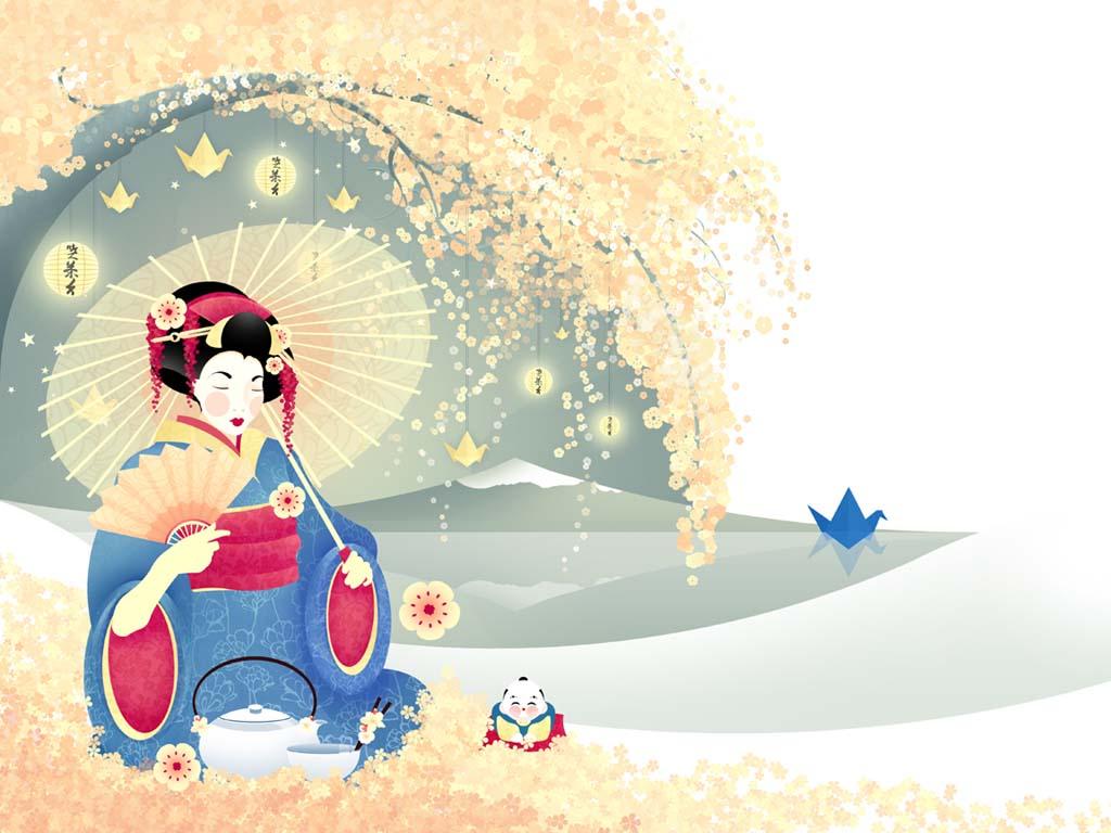 geisha anese art wallpaper