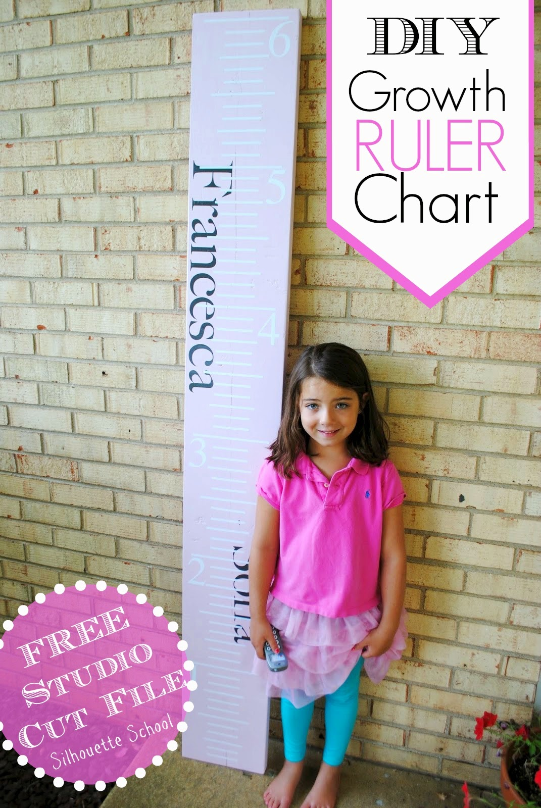 DIY, do it yourself, growth ruler chart, Silhouette tutorial, Silhouette Studio, free cut file