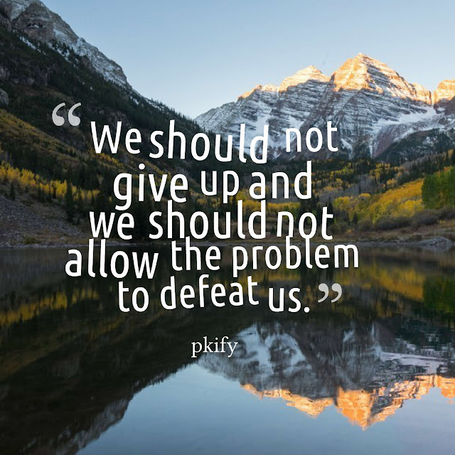 We Should Not Give Up and We Should Not Allow the Problem to Defeat Us Motivational Quotes