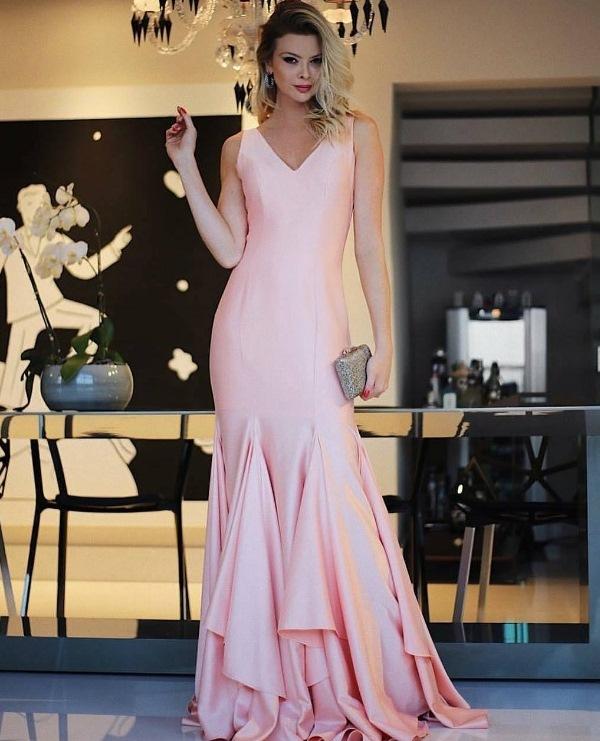 vestido de festa rosa para madrinha ou formanda