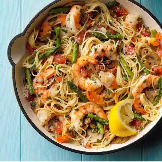 Asparagus & Shrimp With Angel Hair