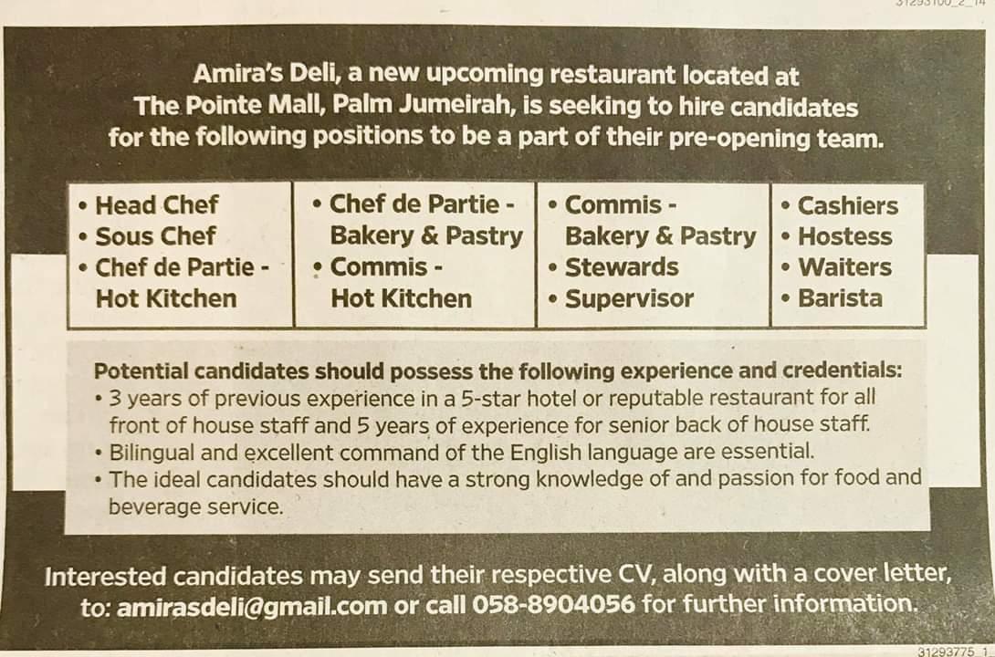 Amira's Deli Restaurant Hiring Candidates UAE Local Hiring