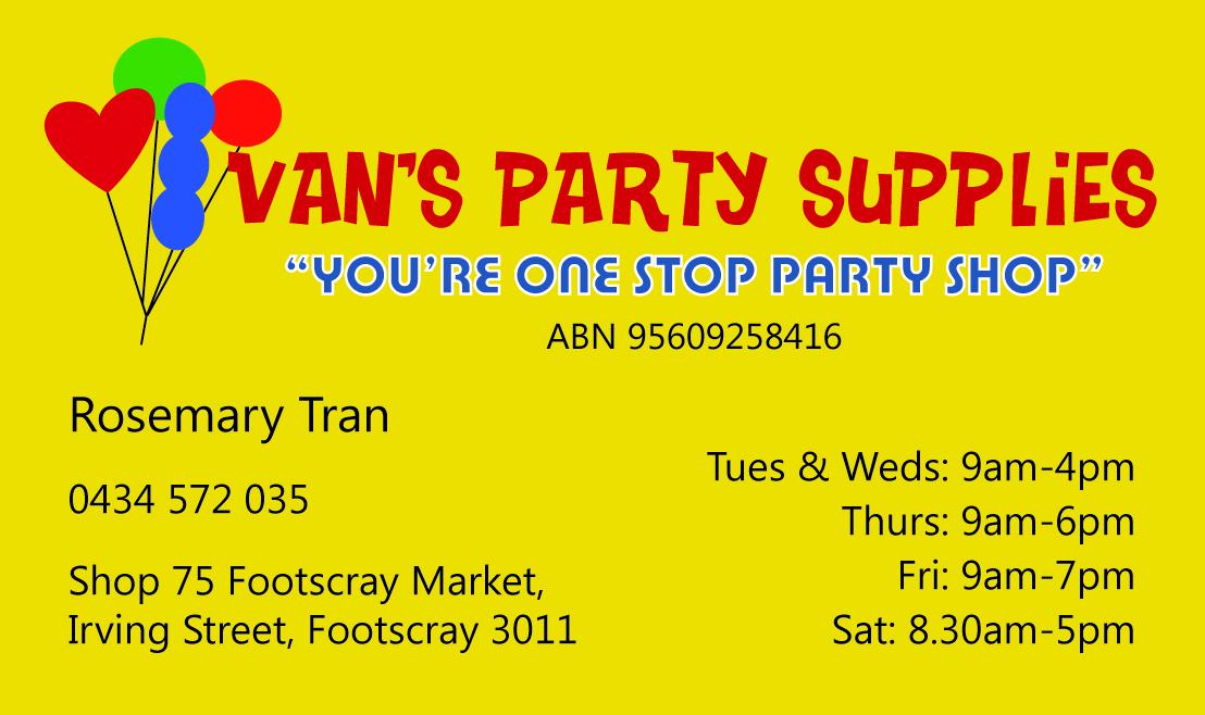 V Ink Van S Party Supplies