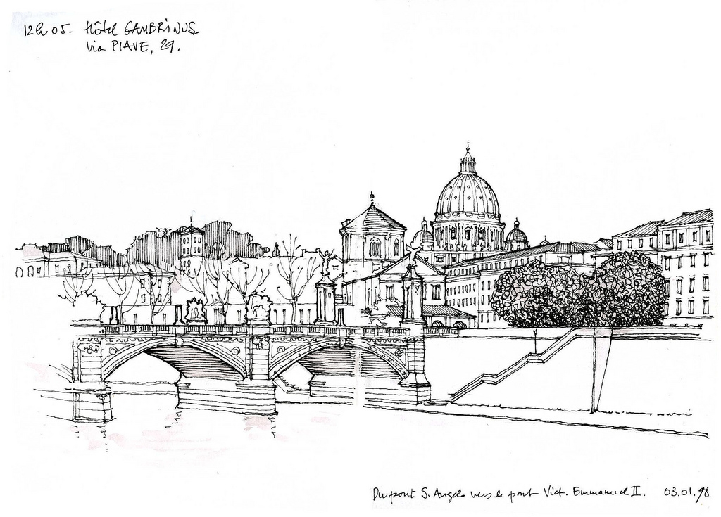 05-Rome-Castel-Sant-Angelo-Bridge-Gérard-Michel-Italian-Urban-Sketches-to-Capture-Architecture-in-a-moment-in-Time-www-designstack-co