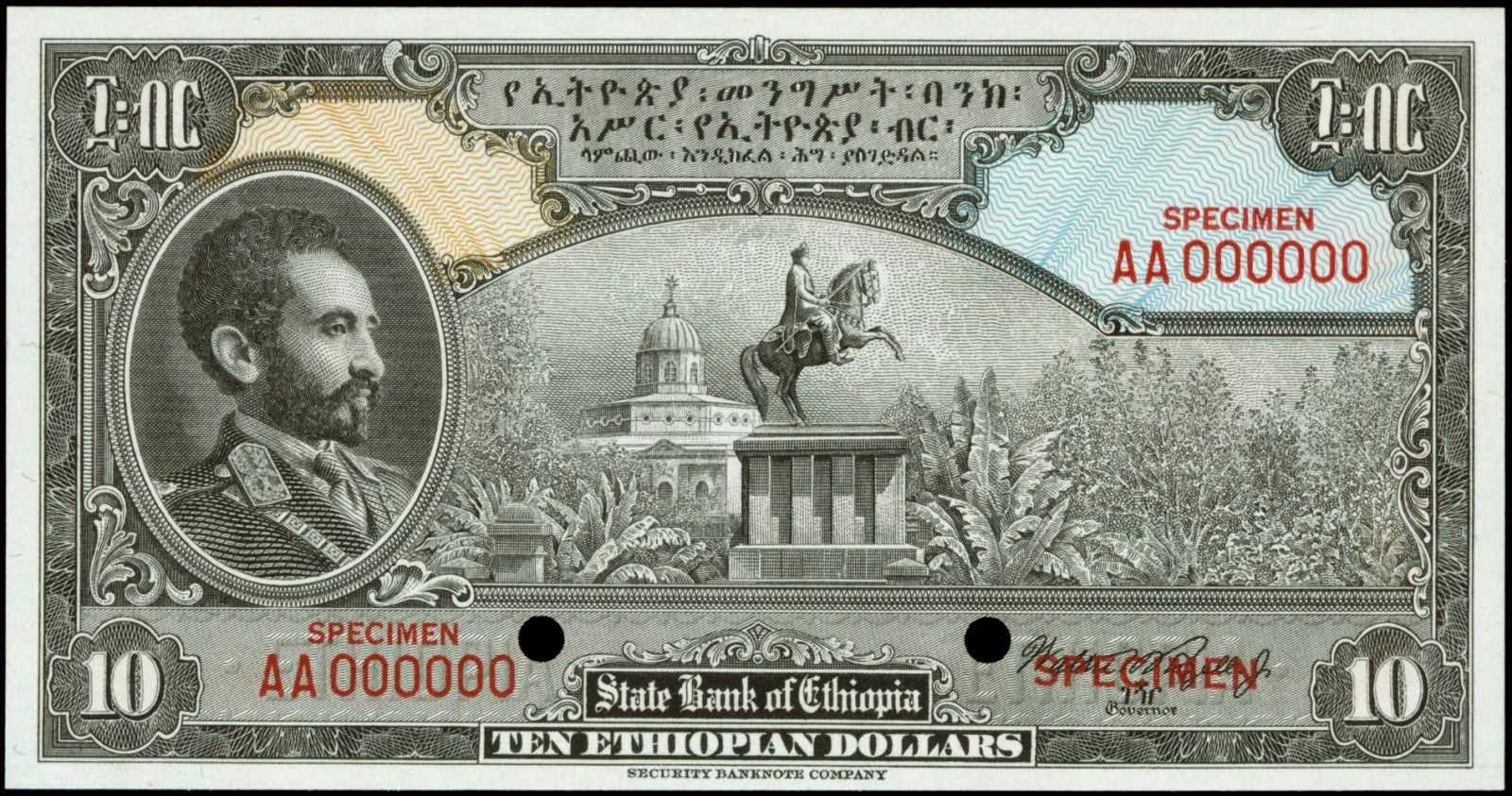 Ethiopia banknotes 10 Dollars note 1945 Emperor Haile Selassie