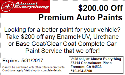 Discount Coupon $200 Off Premium Auto Paint Sale May 2017