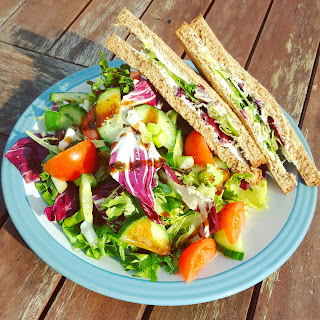 Salad and Cream Cheese Sandwich - a rather filling and lovely lunch!
