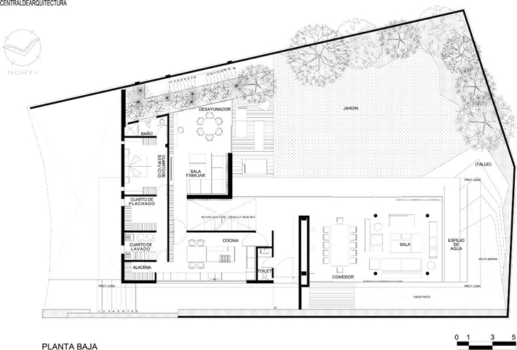 Ground floor plan of House La Punta by Central de Arquitectura