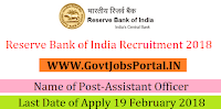 Reserve Bank of India Recruitment 2018– Assistant Officer