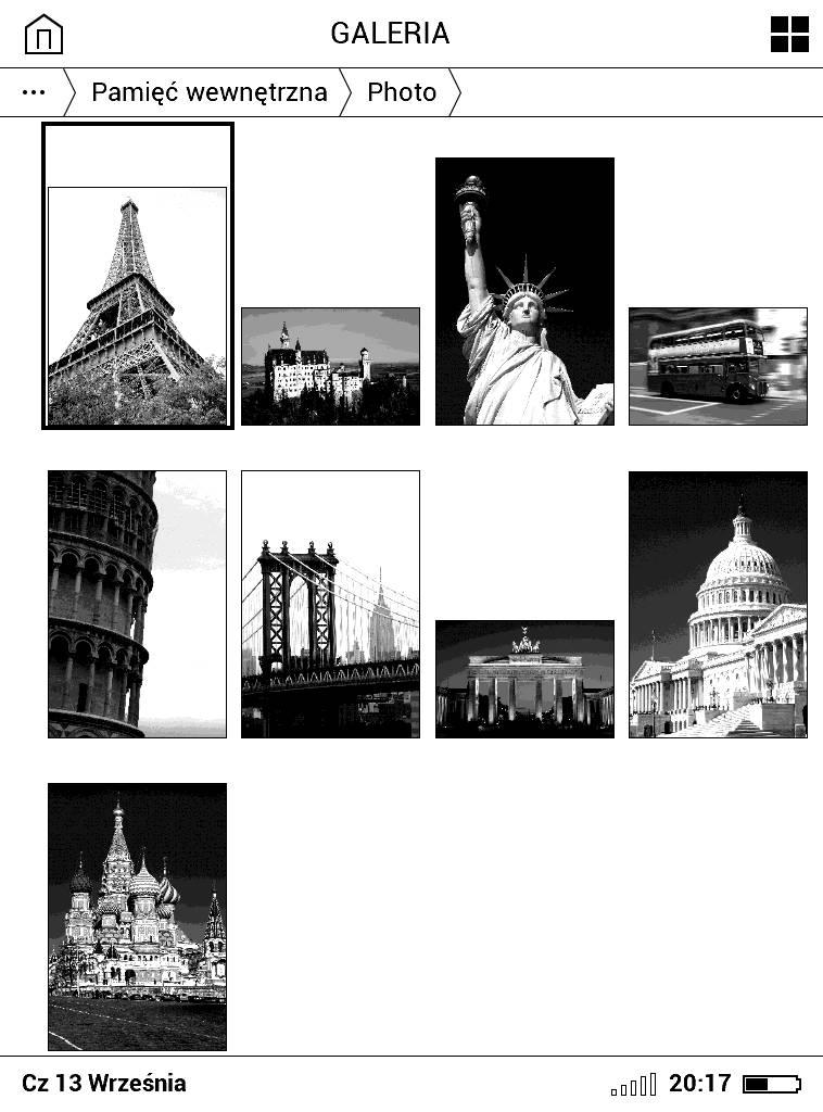 Galeria w PocketBook Basic Lux 2 – podgląd dostępnych w folderze obrazów