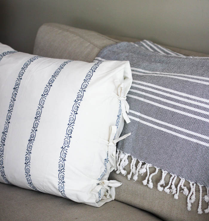 Les Indiennes throw pillow in summer home tour