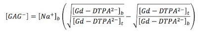 An equation giving the concentration of glycosaminoglycan in cartilage from the measured concentration of gadolinium diethylene triamine pentaacetic acid.