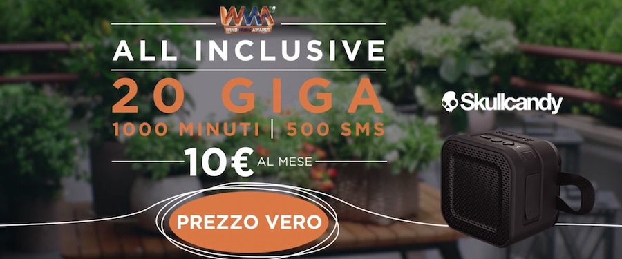 Pubblicità Wind ALL INCLUSIVE Music Awards con 20 GIGA