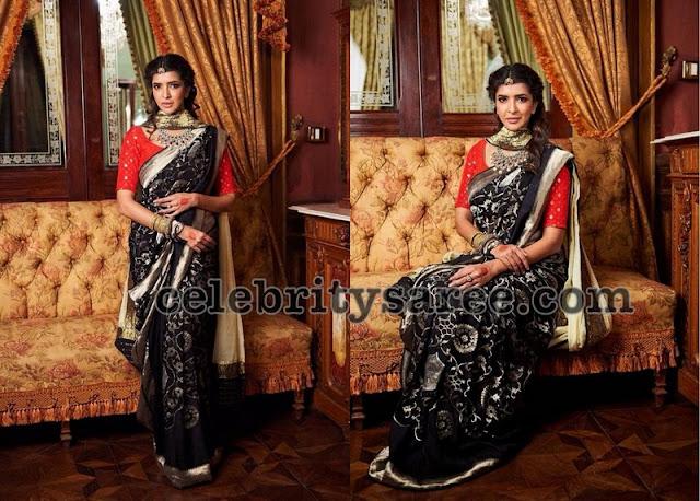 Lakshmi Manchu Black Floral Saree