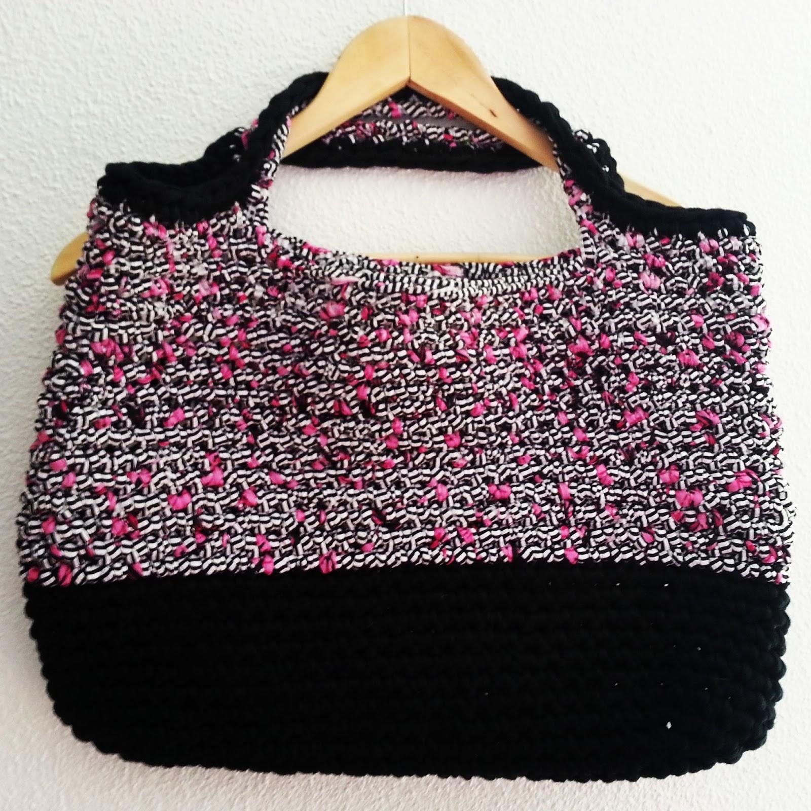 F e du tricot sac cabas en trapilho tuto inside - Tuto pour creer un sac en crochet ...