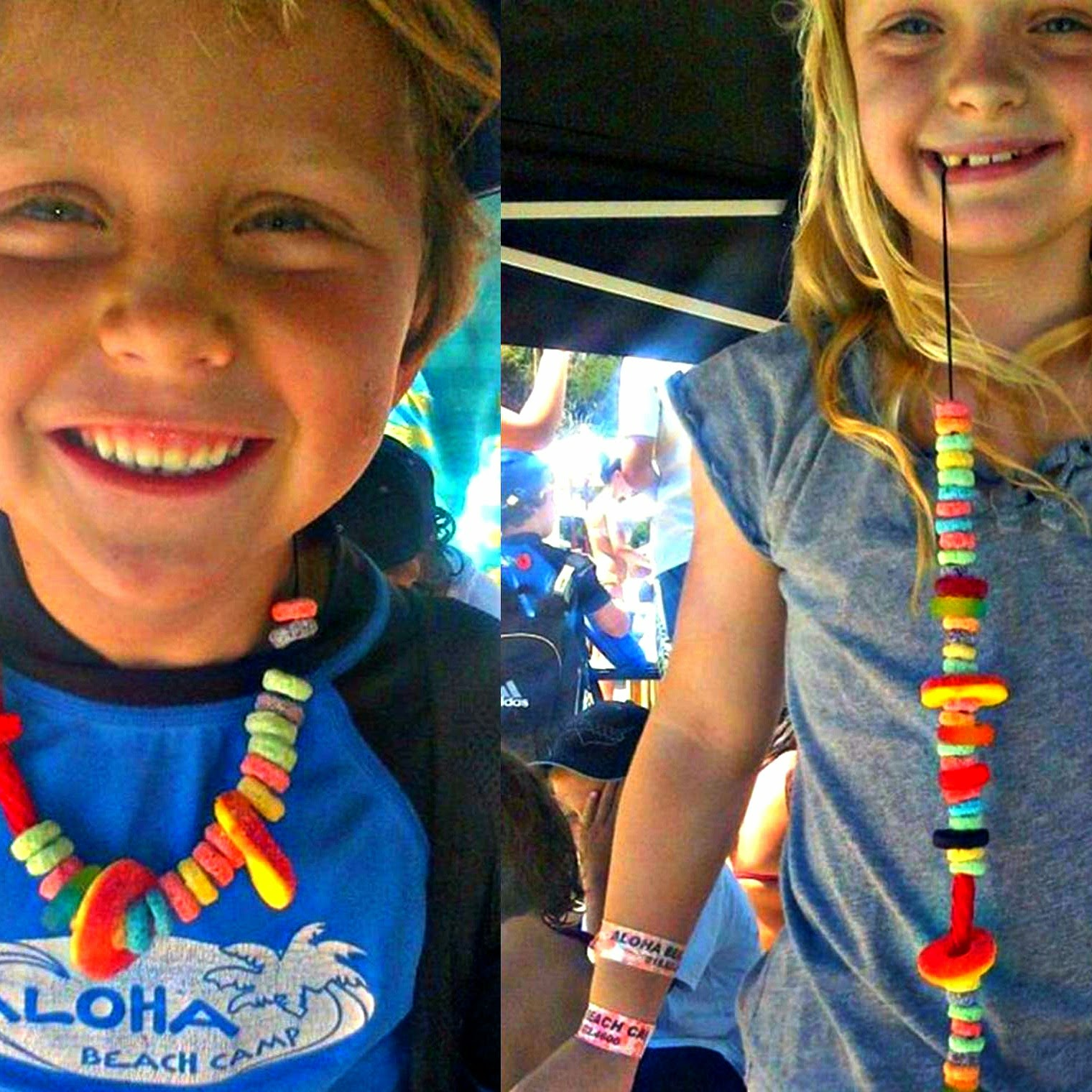 Aloha Beach Camp kids wearing candy leis they made at camp.