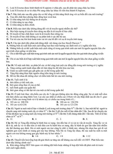 Đề thi thử môn sinh trường THPT chuyên Bắc Ninh - có đáp án