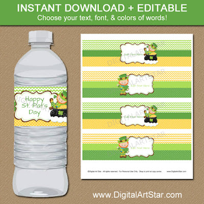 st patricks day party decorations water bottle labels with leprechauns